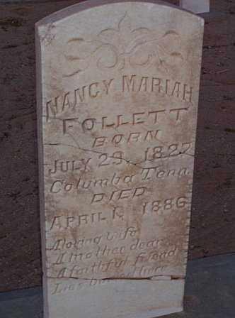 FOLLETT, NANCY MARIAH - Graham County, Arizona   NANCY MARIAH FOLLETT - Arizona Gravestone Photos