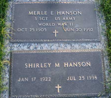HANSON, MERLE E - Maricopa County, Arizona   MERLE E HANSON - Arizona Gravestone Photos