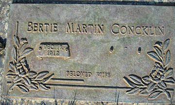 CONCKLIN, BERTIE MARTIN - Mohave County, Arizona   BERTIE MARTIN CONCKLIN - Arizona Gravestone Photos