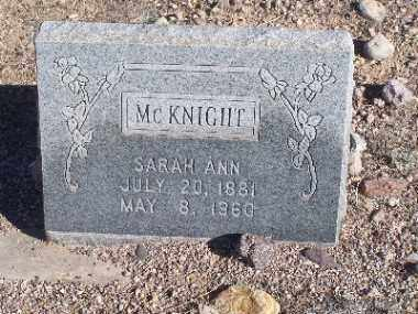 MCKNIGHT, SARAH ANN - Mohave County, Arizona | SARAH ANN MCKNIGHT - Arizona Gravestone Photos