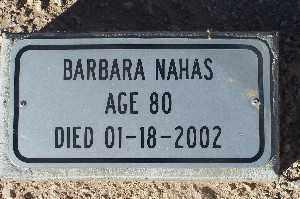 NAHAS, BARBARA - Mohave County, Arizona | BARBARA NAHAS - Arizona Gravestone Photos