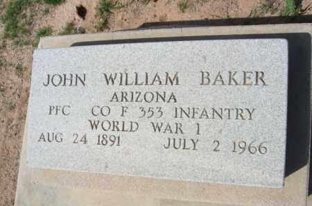 BAKER, JOHN WILLIAM - Pinal County, Arizona   JOHN WILLIAM BAKER - Arizona Gravestone Photos