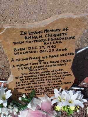 CHIQUETE, ANNA M. - Pinal County, Arizona | ANNA M. CHIQUETE - Arizona Gravestone Photos