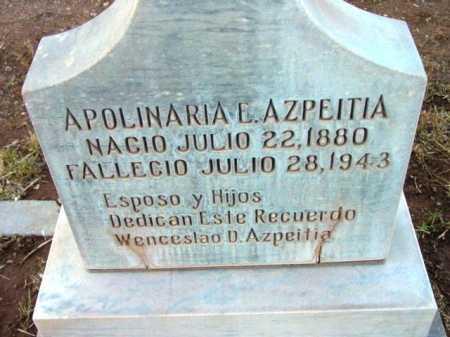 AZPEITIA, APOLINARIA E. - Yavapai County, Arizona   APOLINARIA E. AZPEITIA - Arizona Gravestone Photos