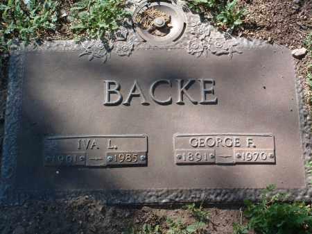 BACKE, GEORGE FRANCIS - Yavapai County, Arizona | GEORGE FRANCIS BACKE - Arizona Gravestone Photos