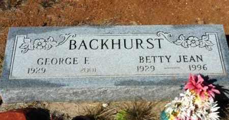 BACKHURST, BETTY JEAN - Yavapai County, Arizona | BETTY JEAN BACKHURST - Arizona Gravestone Photos