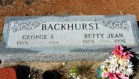 BACKHURST, GEORGE F. - Yavapai County, Arizona   GEORGE F. BACKHURST - Arizona Gravestone Photos