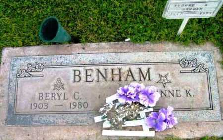 BENHAM, BERYL C. - Yavapai County, Arizona | BERYL C. BENHAM - Arizona Gravestone Photos