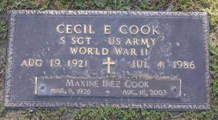 COOK, CECIL E - Yavapai County, Arizona | CECIL E COOK - Arizona Gravestone Photos