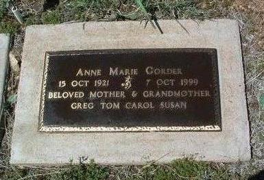 GORDER, ANNE MARIE - Yavapai County, Arizona | ANNE MARIE GORDER - Arizona Gravestone Photos
