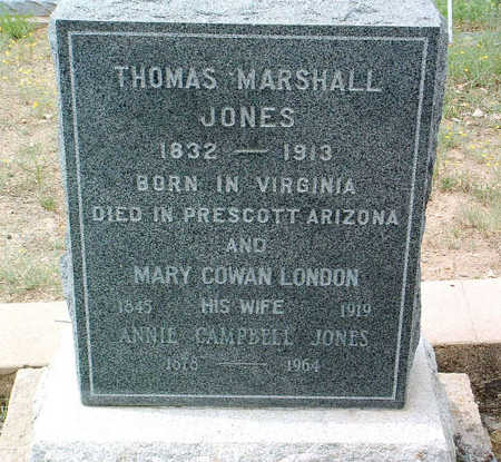 LONDON JONES, MARY COWAN - Yavapai County, Arizona | MARY COWAN LONDON JONES - Arizona Gravestone Photos