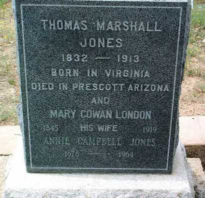 JONES, THOMAS MARSHALL - Yavapai County, Arizona | THOMAS MARSHALL JONES - Arizona Gravestone Photos