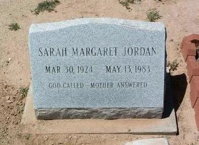JORDAN, SARAH MARGARET - Yavapai County, Arizona | SARAH MARGARET JORDAN - Arizona Gravestone Photos