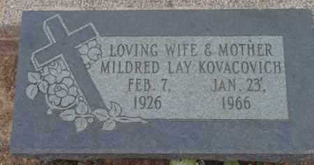 LAY KOVACOVICH, MILDRED GRACE - Yavapai County, Arizona   MILDRED GRACE LAY KOVACOVICH - Arizona Gravestone Photos