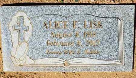 LISK, ALICE F. - Yavapai County, Arizona | ALICE F. LISK - Arizona Gravestone Photos