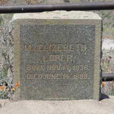 LOPER, MARY ELIZABETH - Yavapai County, Arizona | MARY ELIZABETH LOPER - Arizona Gravestone Photos