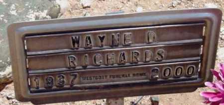 RICHARDS, WAYNE D. - Yavapai County, Arizona   WAYNE D. RICHARDS - Arizona Gravestone Photos