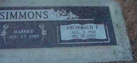 SIMMONS, ARCHIBALD P. - Yavapai County, Arizona | ARCHIBALD P. SIMMONS - Arizona Gravestone Photos