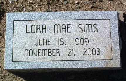 SIMS, LORA MAE - Yavapai County, Arizona | LORA MAE SIMS - Arizona Gravestone Photos