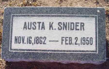 SNIDER, AUSTA K. - Yavapai County, Arizona | AUSTA K. SNIDER - Arizona Gravestone Photos