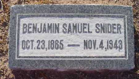 SNIDER, BENJAMIN SAMUEL - Yavapai County, Arizona   BENJAMIN SAMUEL SNIDER - Arizona Gravestone Photos