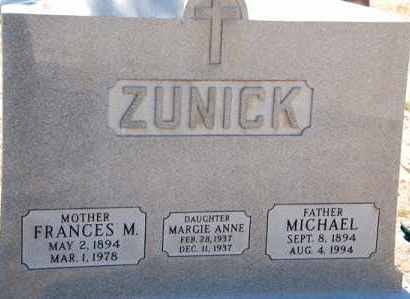 ZUNICK, FRANCES MARY - Yavapai County, Arizona | FRANCES MARY ZUNICK - Arizona Gravestone Photos
