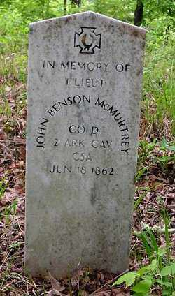 MCMURTREY (VETERAN CSA), JOHN BENSON - Cleveland County, Arkansas   JOHN BENSON MCMURTREY (VETERAN CSA) - Arkansas Gravestone Photos