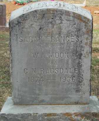 MOON RAGSDALE, SARAH FRANCES - Crawford County, Arkansas   SARAH FRANCES MOON RAGSDALE - Arkansas Gravestone Photos