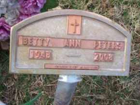 PETERS, BETTY ANN - Crawford County, Arkansas | BETTY ANN PETERS - Arkansas Gravestone Photos