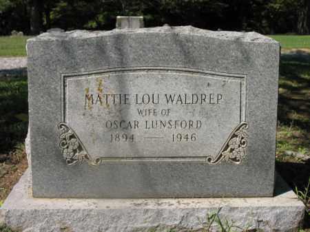 WALDREP LUNSFORD, MATTIE LOU - Cross County, Arkansas | MATTIE LOU WALDREP LUNSFORD - Arkansas Gravestone Photos