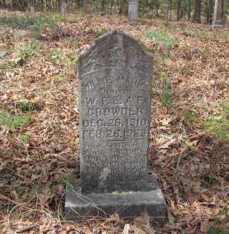 CROWDER, WILLIE MARIE - Dallas County, Arkansas | WILLIE MARIE CROWDER - Arkansas Gravestone Photos