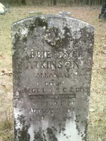 ATKINSON (VETERAN WWI), ABBIE DYER - Drew County, Arkansas | ABBIE DYER ATKINSON (VETERAN WWI) - Arkansas Gravestone Photos