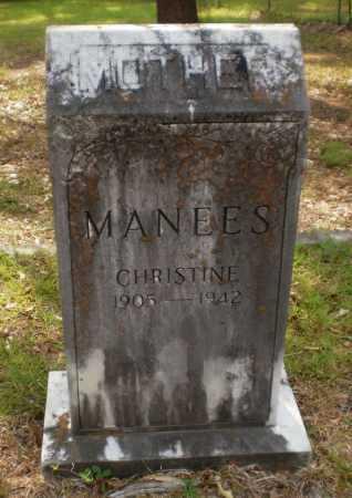 MANEES, CHRISTINE - Drew County, Arkansas   CHRISTINE MANEES - Arkansas Gravestone Photos