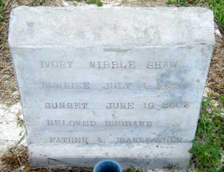 SHAW, IVORY NIBBLE - Drew County, Arkansas | IVORY NIBBLE SHAW - Arkansas Gravestone Photos
