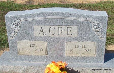 ACRE, ERKLE - Faulkner County, Arkansas   ERKLE ACRE - Arkansas Gravestone Photos