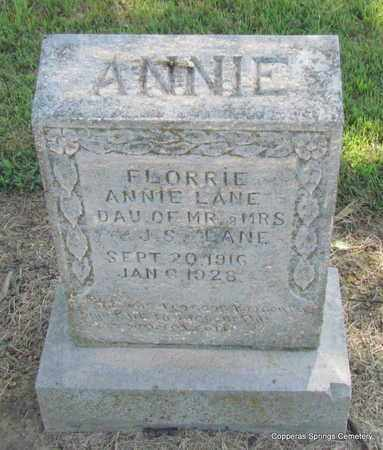 LANE, ANNIE FLORRIE - Faulkner County, Arkansas | ANNIE FLORRIE LANE - Arkansas Gravestone Photos