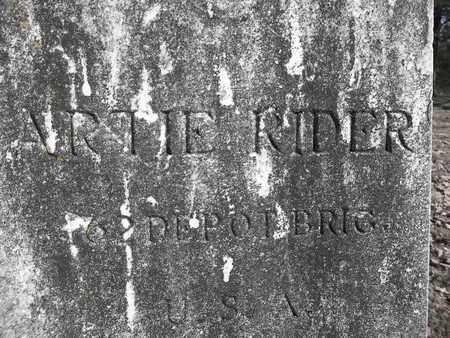 RIDER (VETERAN), ARTIE H (CLOSEUP) - Franklin County, Arkansas   ARTIE H (CLOSEUP) RIDER (VETERAN) - Arkansas Gravestone Photos