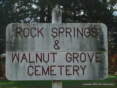 *ROCK SPRINGS-WALNUT GROVE CEM, SIGN - Garland County, Arkansas   SIGN *ROCK SPRINGS-WALNUT GROVE CEM - Arkansas Gravestone Photos