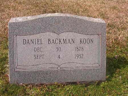 KOON, DANIEL BACKMAN - Grant County, Arkansas | DANIEL BACKMAN KOON - Arkansas Gravestone Photos