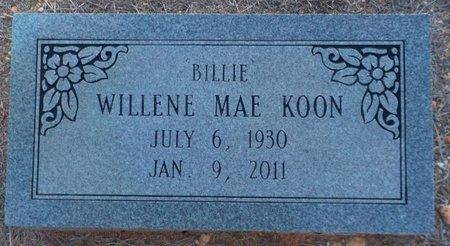"KOON, WILLENE MAE ""BILLIE"" - Grant County, Arkansas | WILLENE MAE ""BILLIE"" KOON - Arkansas Gravestone Photos"
