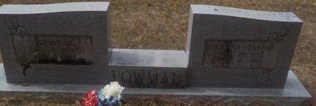 TABOR LOWMAN, CANNA - Grant County, Arkansas | CANNA TABOR LOWMAN - Arkansas Gravestone Photos