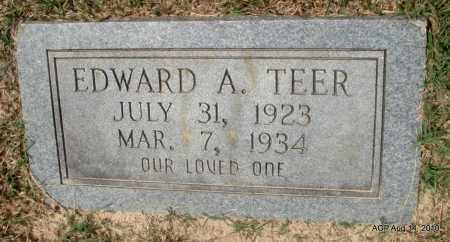 TEER, EDWARD A - Grant County, Arkansas   EDWARD A TEER - Arkansas Gravestone Photos