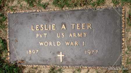 TEER (VETERAN WWI), LESLIE A - Grant County, Arkansas   LESLIE A TEER (VETERAN WWI) - Arkansas Gravestone Photos