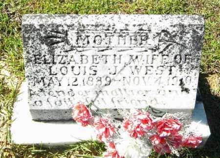 WEST, ELIZABETH - Grant County, Arkansas   ELIZABETH WEST - Arkansas Gravestone Photos