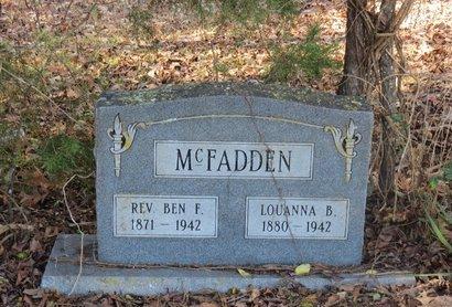 MCFADDEN, BEN F, REV - Hempstead County, Arkansas   BEN F, REV MCFADDEN - Arkansas Gravestone Photos