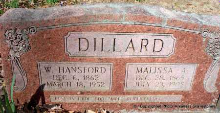 DILLARD, W HANSFORD - Hot Spring County, Arkansas | W HANSFORD DILLARD - Arkansas Gravestone Photos