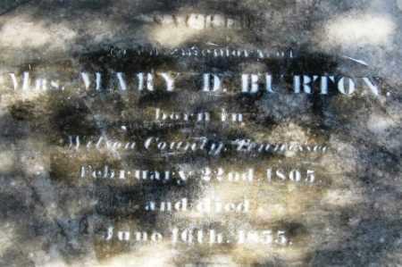 BURTON, MARY D, MRS (CLOSE UP) - Howard County, Arkansas | MARY D, MRS (CLOSE UP) BURTON - Arkansas Gravestone Photos