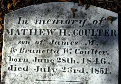 COULTER, MATHEW H (CLOSE UP) - Howard County, Arkansas   MATHEW H (CLOSE UP) COULTER - Arkansas Gravestone Photos