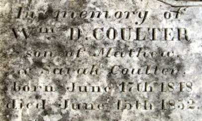 COULTER, WILLIAM D (CLOSE UP) - Howard County, Arkansas   WILLIAM D (CLOSE UP) COULTER - Arkansas Gravestone Photos