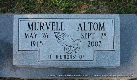 HARBOUR ALTOM, MURVELL (OBIT) - Independence County, Arkansas | MURVELL (OBIT) HARBOUR ALTOM - Arkansas Gravestone Photos